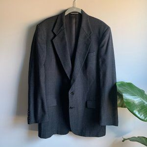 Vintage Dior Two Button Plaid 100% Wool Sport Coat